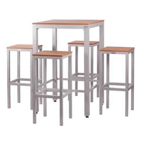 Set tavolo alto e 4 sgabelli in alluminio e piani listellari luno - Tavoli e sedie bar ikea ...