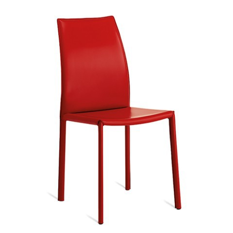 Sedia design a schienale alto imbottita in pelle rossa for Sedia design schienale alto