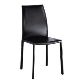 Sedia design a schienale alto imbottita in pelle nera ORTENSIA