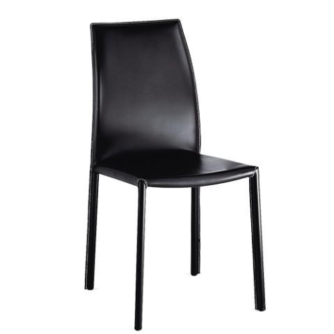 Sedia design a schienale alto imbottita in pelle nera ortensia for Sedia design nera