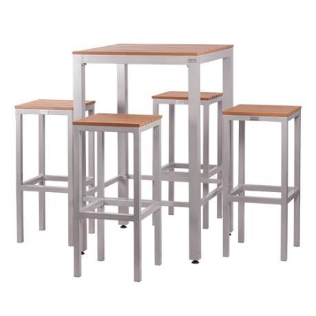 Tavoli Alti Per Esterno.Set Tavolo Alto E 4 Sgabelli In Alluminio E Piani Listellari Luno